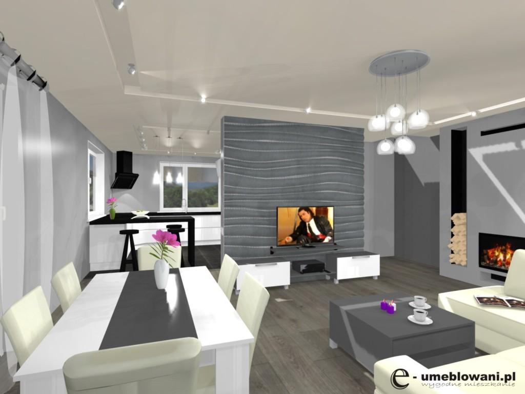 salon, kuchnia, wnętrze biało szarek, barek, stół, tynk ozdobny szary