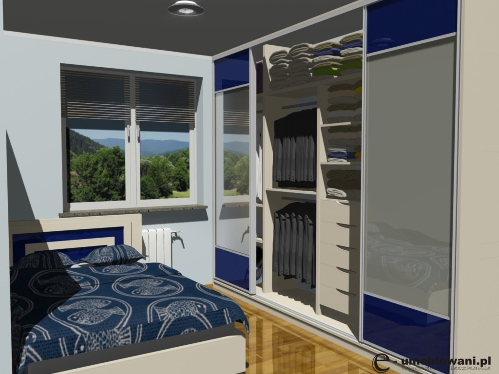 Aranżacja szafy wnękowej w sypialni ze szkłem, łóżko, szuflady, półki