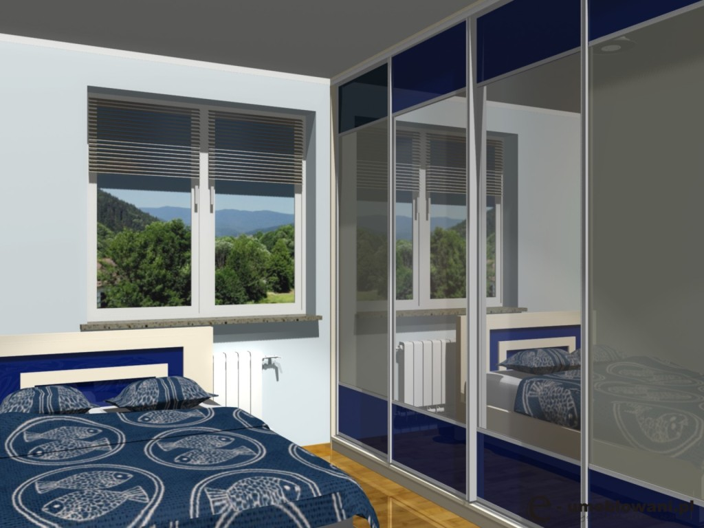 Aranżacja szafy wnękowej w sypialni ze szkłem niebieskim