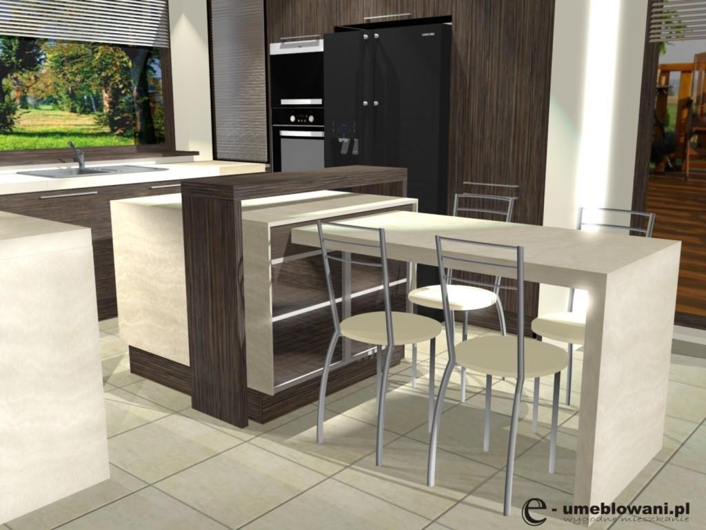 kuchnia beż, brąz, drewno, wyspa, krzesła, Aranżacje kuchenne z witryną podświetlaną led