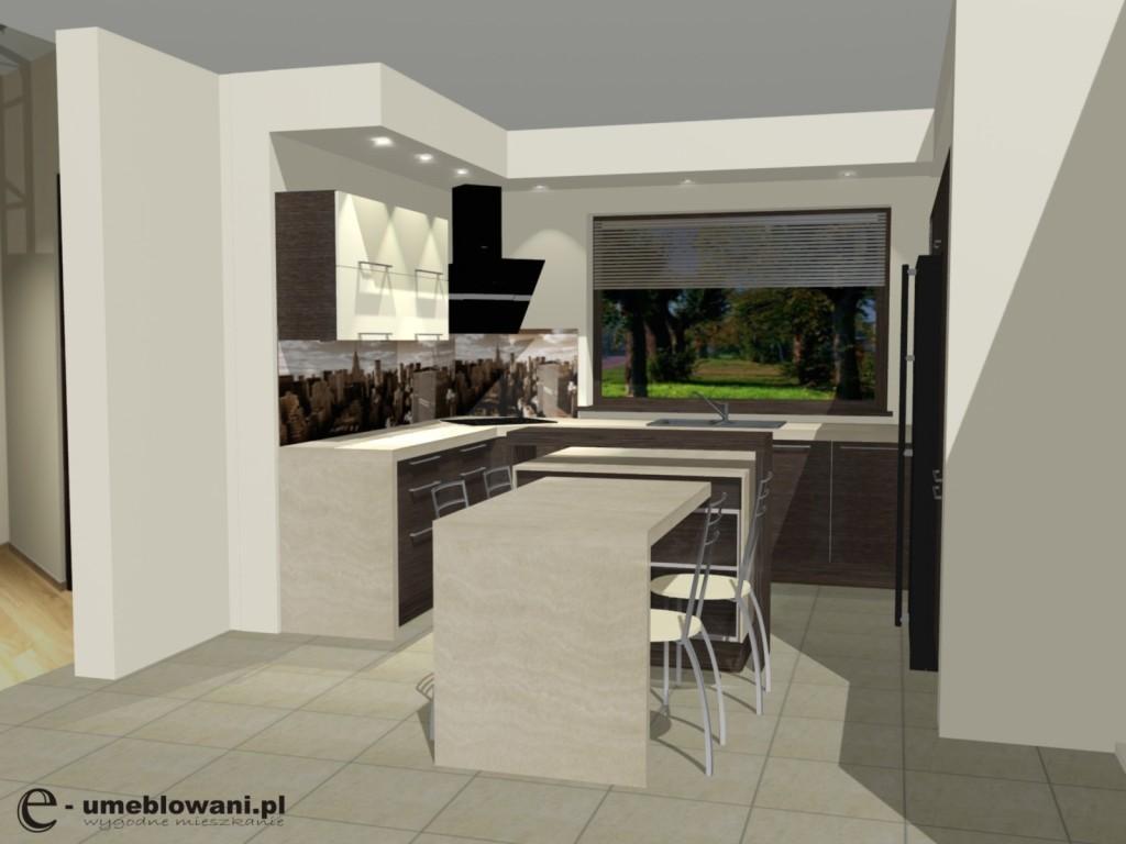 kuchnia, wyspa kuchenna, jedno okno, Aranżacje kuchenne z wyspą i stołem kuchennym