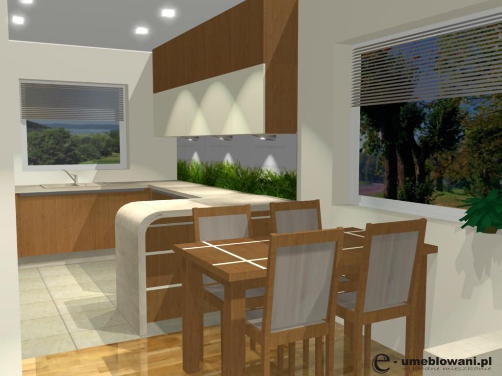 Aranżacje kuchni otwartej na salon ze stołem, szafki do sufitu