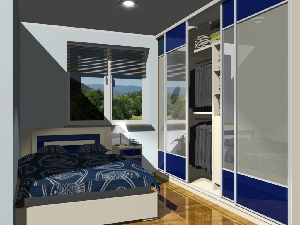 Szafa przesuwna w sypialni, niebieska z lusterm