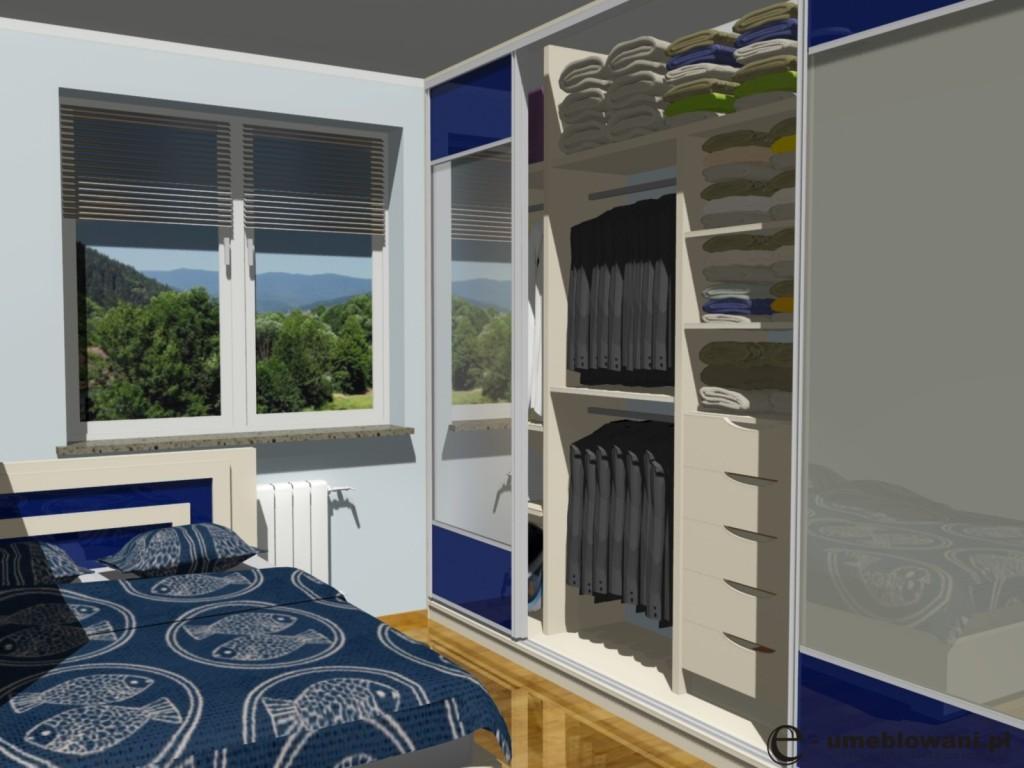 Szafa wnekowa w sypialni, łóżko, jedno okno