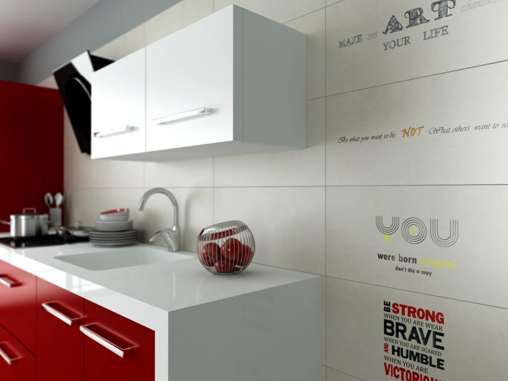 meble kuchenne białe, czerwone, kuchnia płytki, białe,Aranżacja kuchni czerwonej w bloku