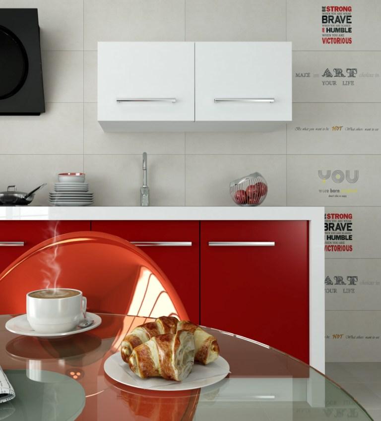 kuchnia, meble kuchenne czerwone, białe, Aranżacja kuchni czerwonej z kafelkami beż