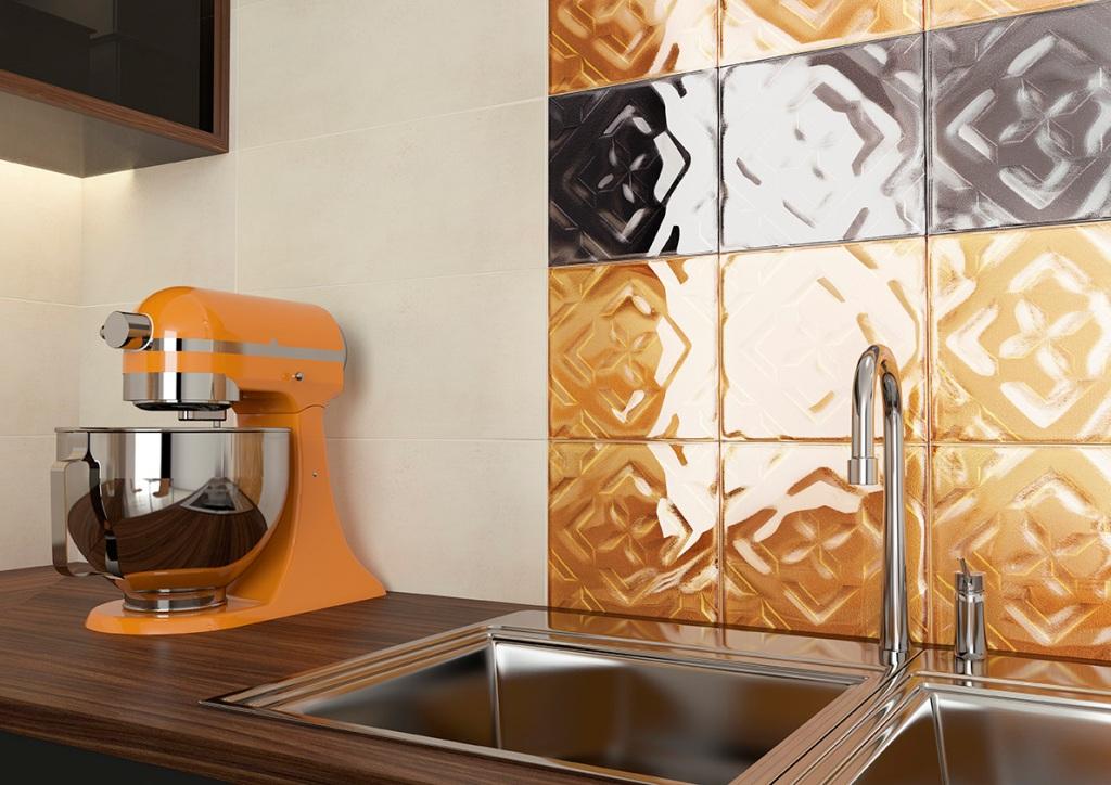 kuchnia, meble kuchenne drewno, Kafelki pomarańczowe