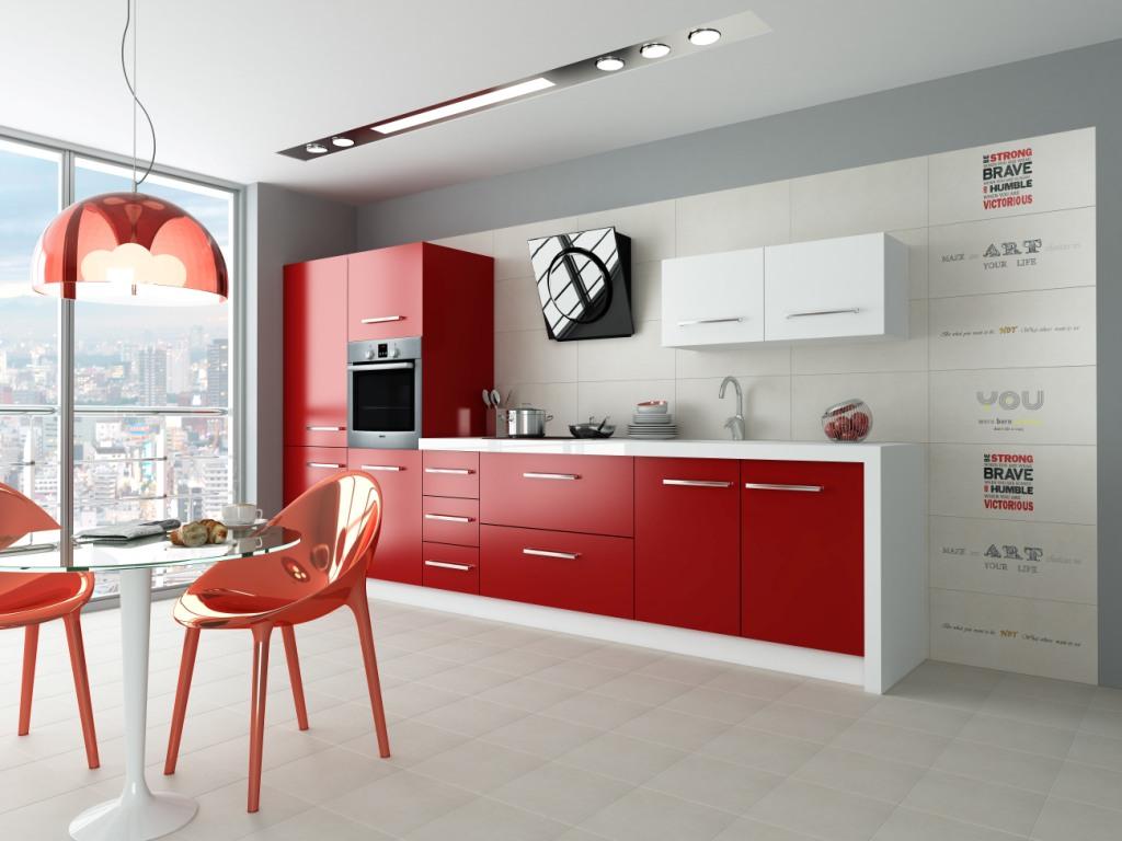 kuchnia, meble kuchenne, czerwone, wanilia, Aranżacja kuchni czerwonej ze stołem