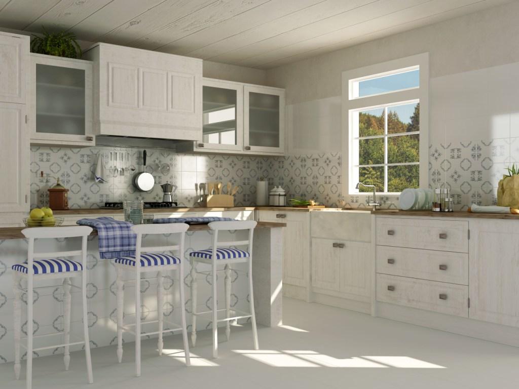kuchnia, biała, Opoczno_Field Blue, hokery
