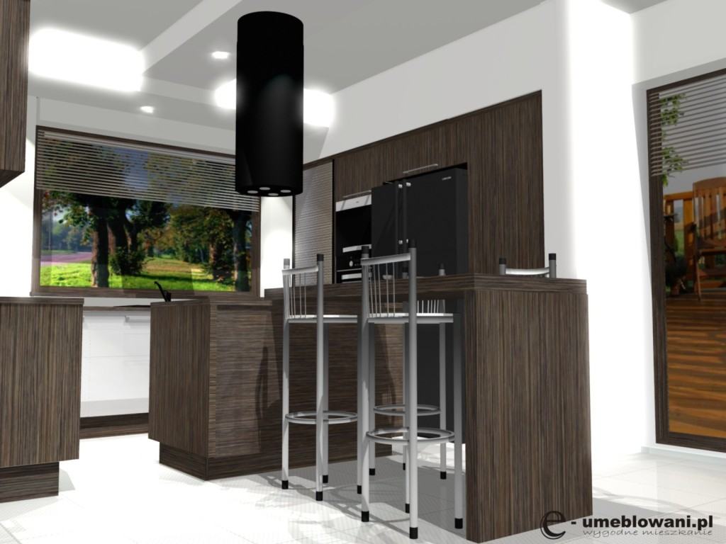 kuchnia, meble kuchenne, wyspa kuchenna, hokery, Aranżacje kuchni w kolorze zebrano otwartej na salon
