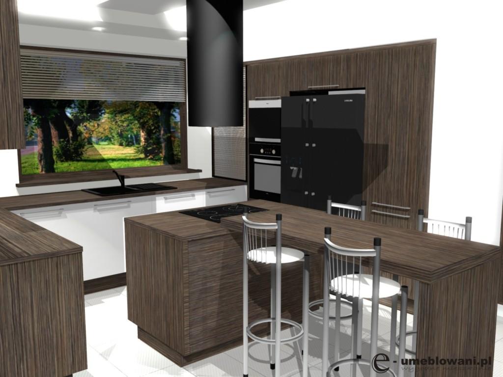 kuchnia, meblekuchenne białe, brąz, drewno, Aranżacje kuchni w kolorze zebrano ze zlewem pod oknem