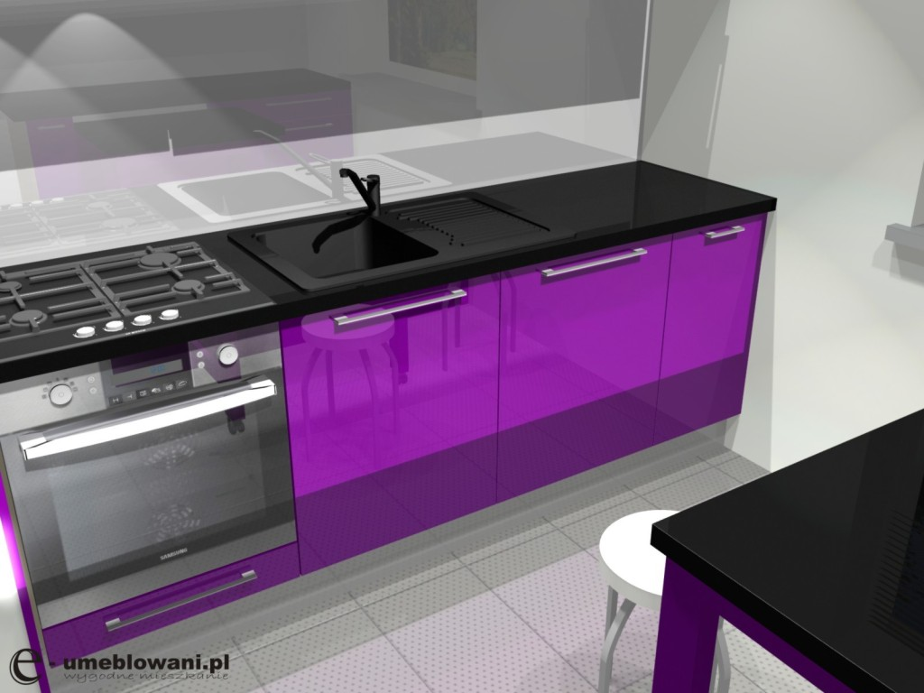 kuchnia fioletowa, czarna, czarny blat, fioletowe szafki połyskaranzacje kuchni w fioletowej w bloku