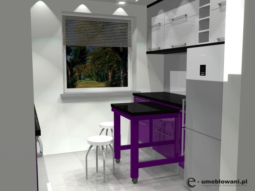 fioletowa kuchnia w bloku, wysuwany dodatkowy blat z podblatu
