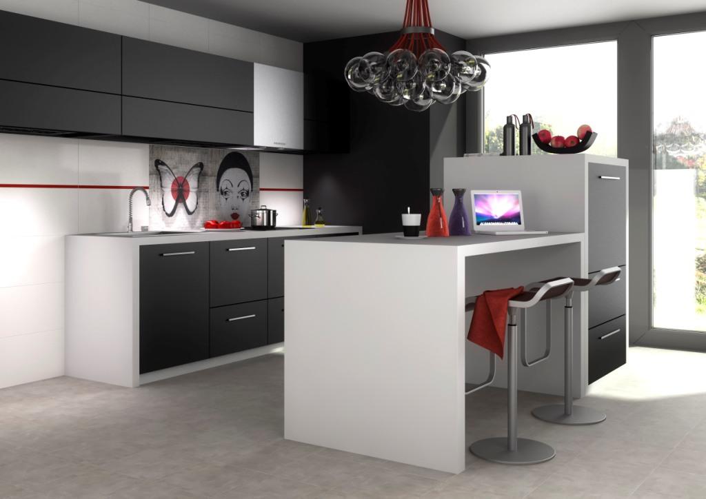 kuchnia czarna, biała, meble kuchene czarne, wyspa kuchenna, Aranżacja kuchni czarnej z białym blatem