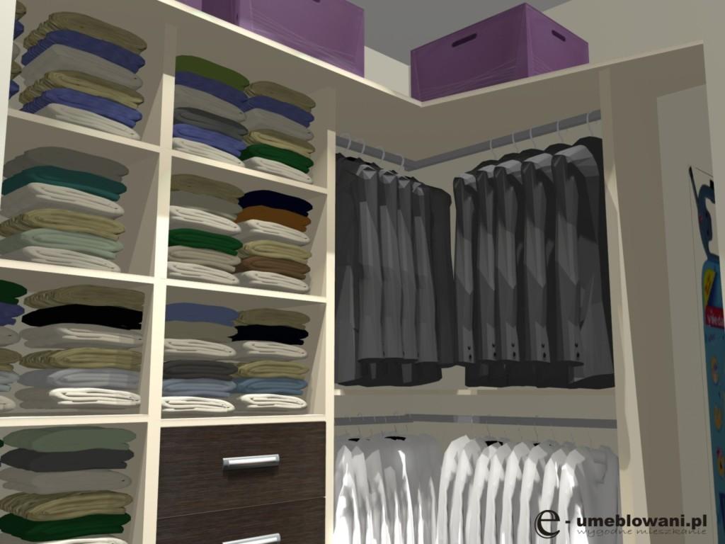 Garderoba z półkami na ubrania, szuflady