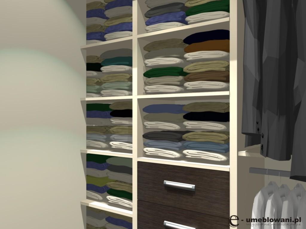 garderoba, Funkcjonalna garderoba z półkami, półk, szuflady, wieszaki