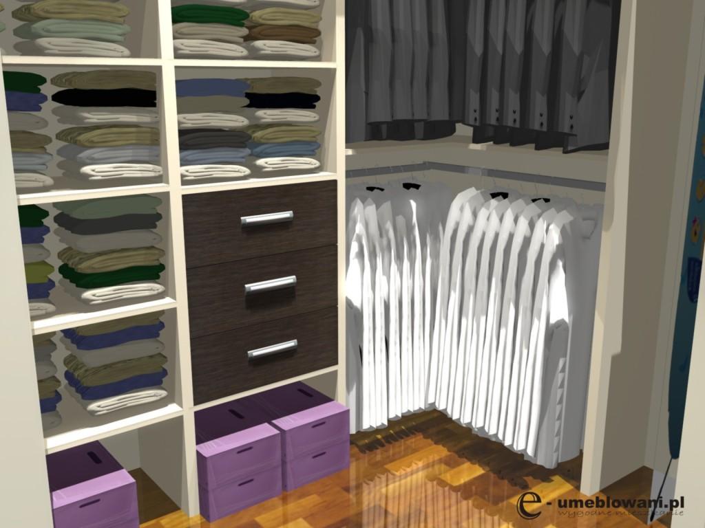 garderoba z narożnym wieszaniem ubrań