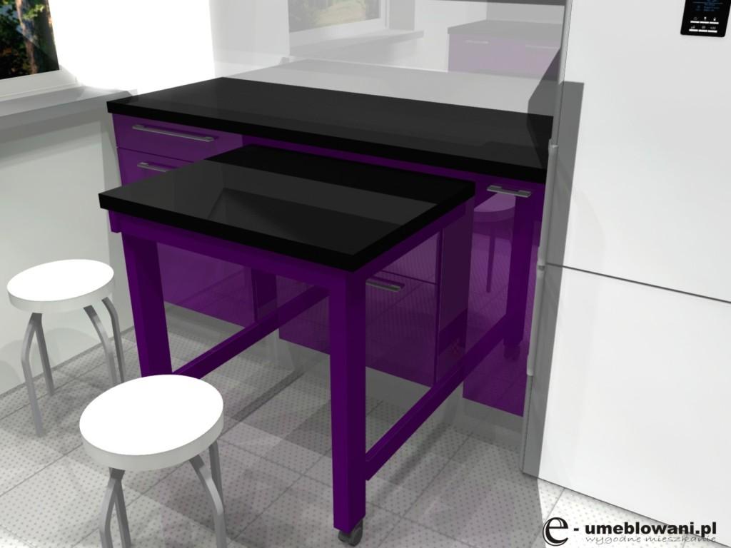 Aranżacja kuchni fioletowej z czarnym