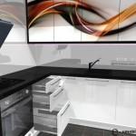 kuchnia w bloku, szuflady blum, szkło na ścianie, fototapeta na frontach kuchennych