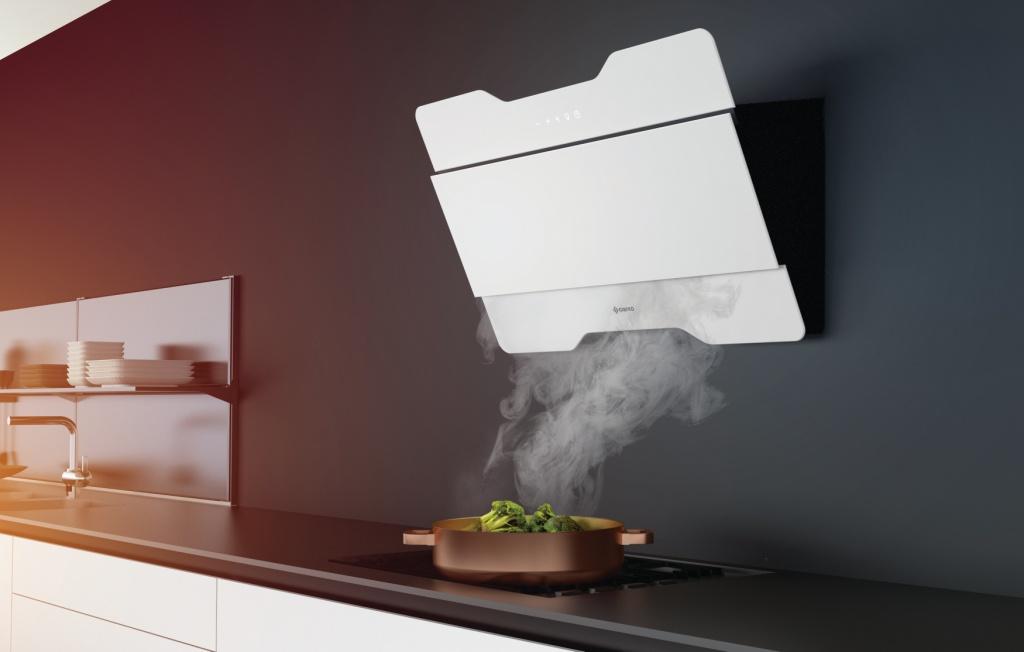 kuchnia, biała, Okap wertykalny w kuchni nowoczesnej