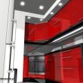Aranżacja małej kuchni w kolorze czerwonym (2)