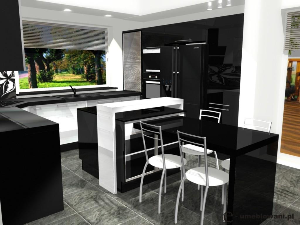 blaty kuchenne, czarna, biała kuchnia, wyspa, płyta grzewcza w narożniku