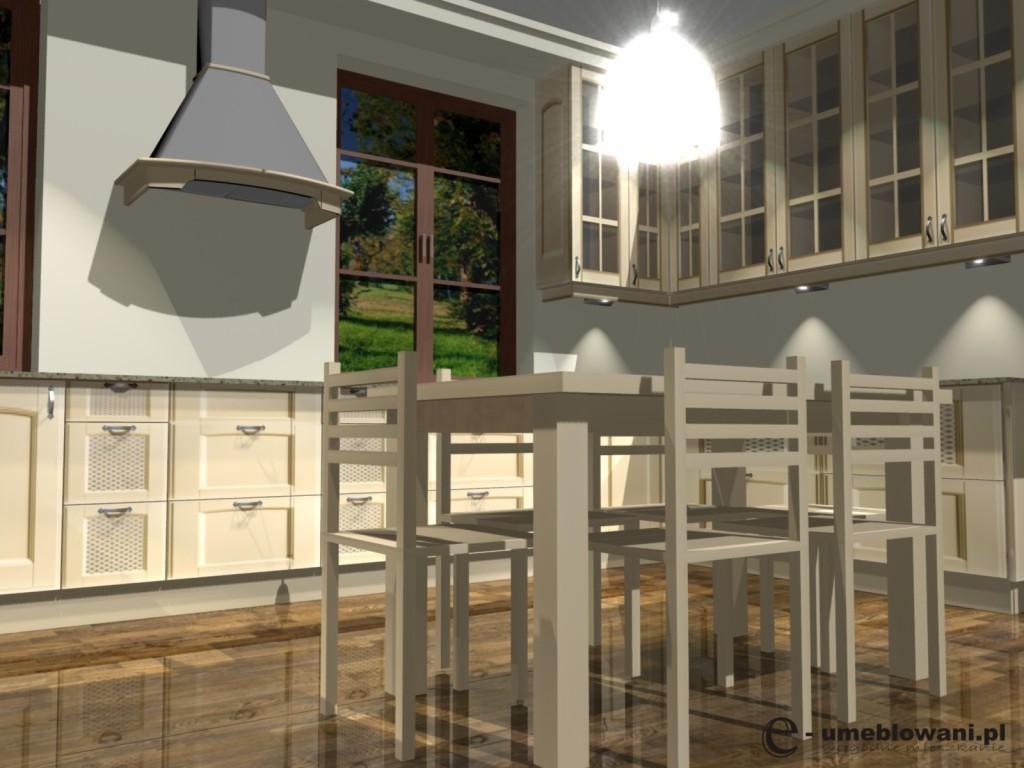Aranżacja kuchni w stylu klasycznym z witrynami