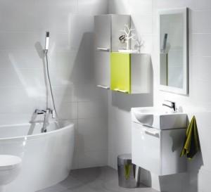 Łazienka biała z żółtą szafką