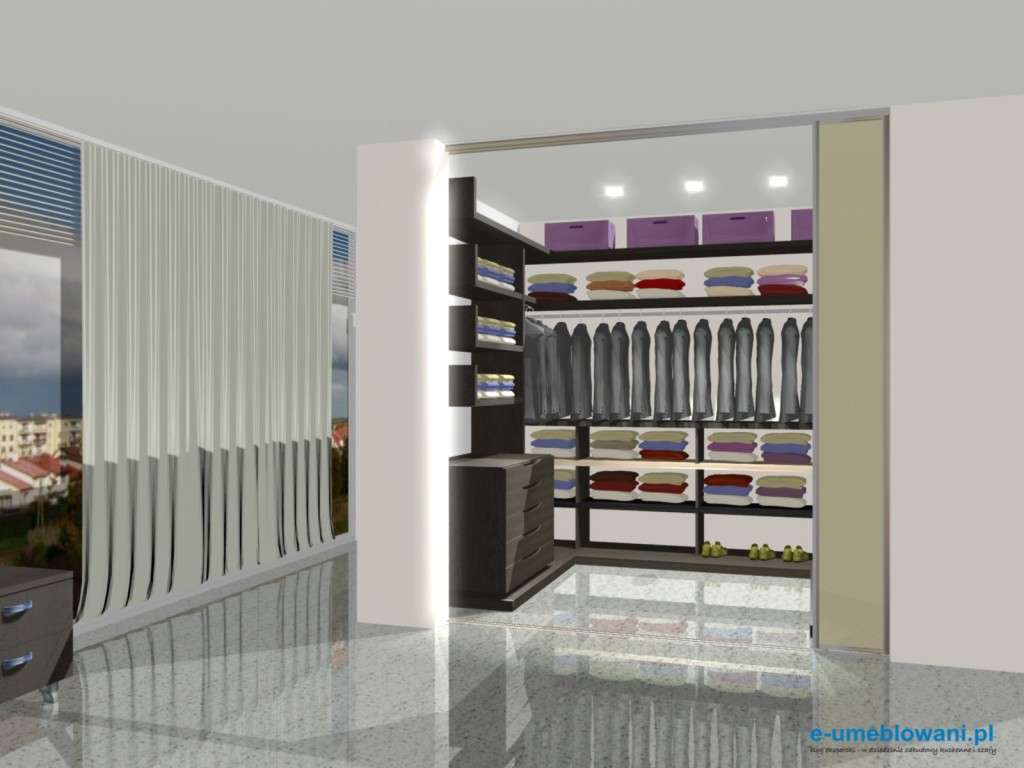 garderoba w salonie z szufladami