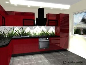 projekty kuchni w bloku czerwonych