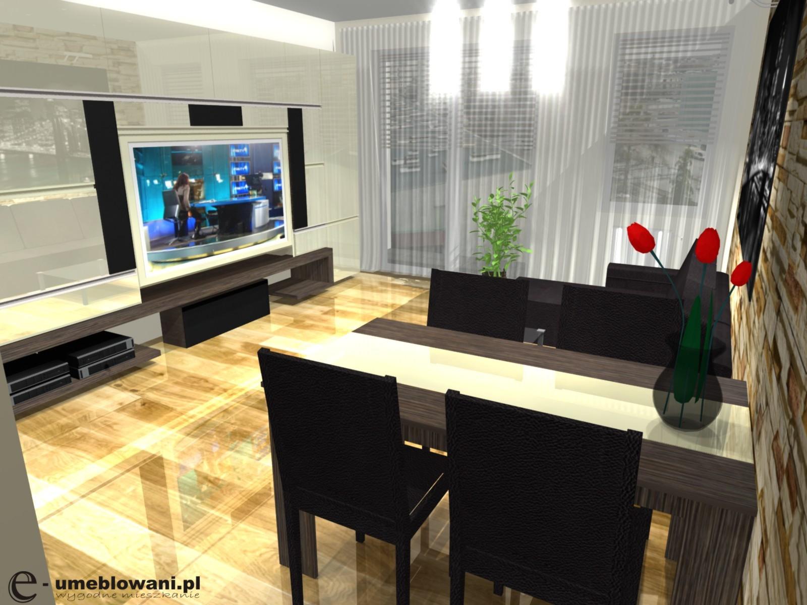 salon z aneksem, zabudowa telewizora w salonie
