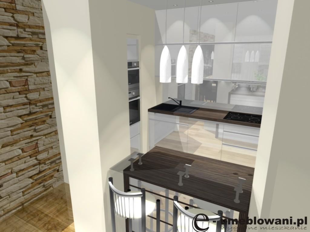 Aneks kuchenny biały, kuchnia, szafki do sufitu, kamień na ścianie
