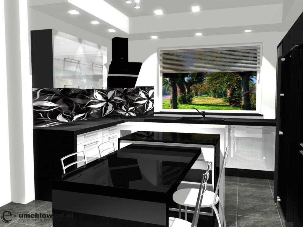 Nowoczesna kuchnia, wyspa, stól, biała, czarna, fototapeta kwiaty