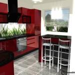 Nowoczesna kuchnia, szkło, grafika,czerwona, barek