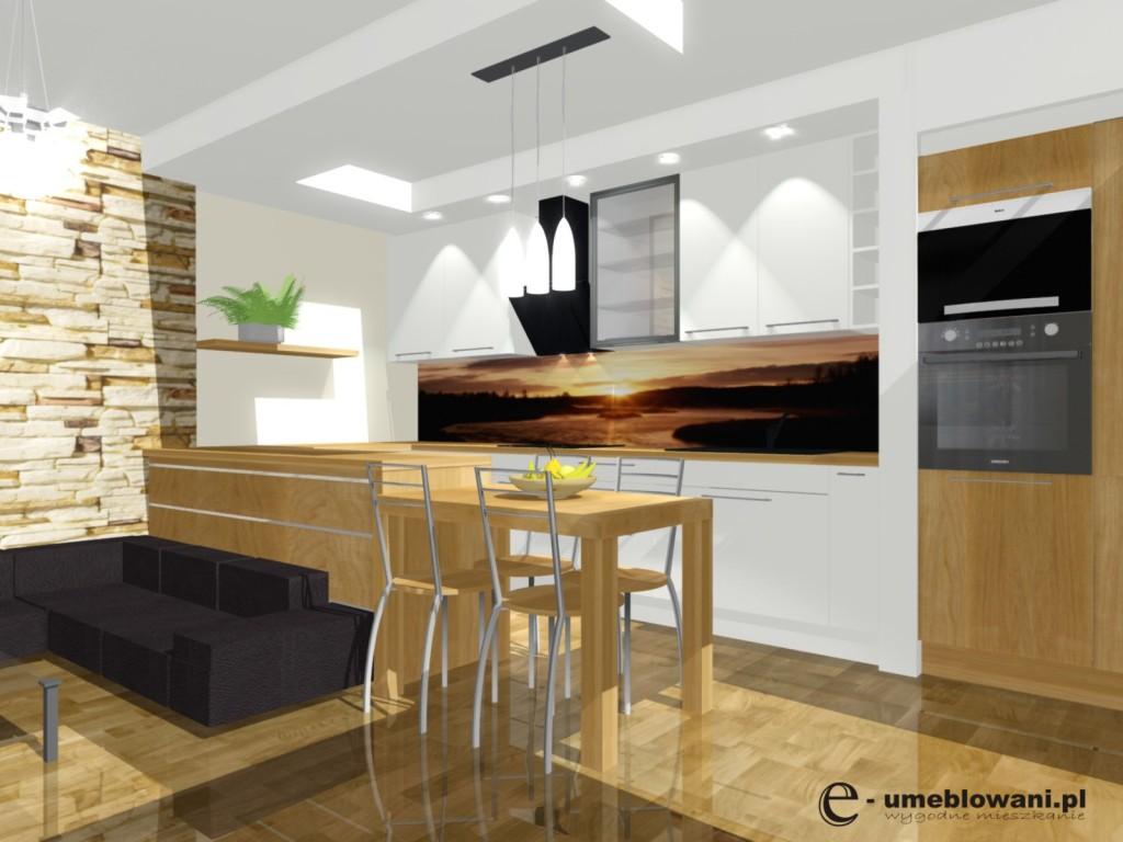 Nowoczesna kuchnia, biała, drewno, stół , ankeks kuchenny  Projekty i aranża