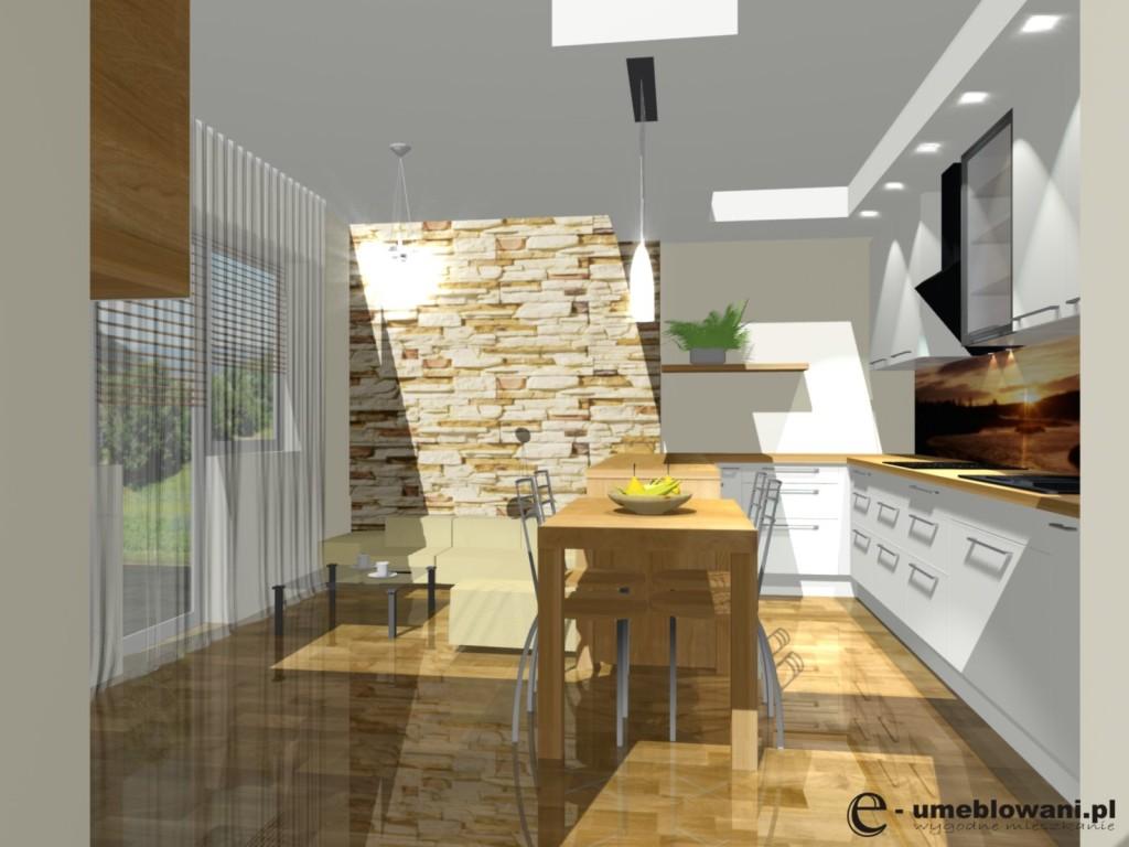Stół, kuchnia biała z drewnem, barek w kuchni