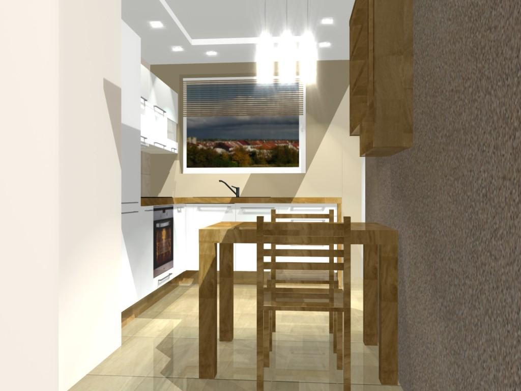 Stół w kuchni drewniany, biała kuchnia, jedno okno w kuchni