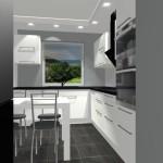 Stół w kuchni, biała kuchnia, kuchnia z jednym oknem