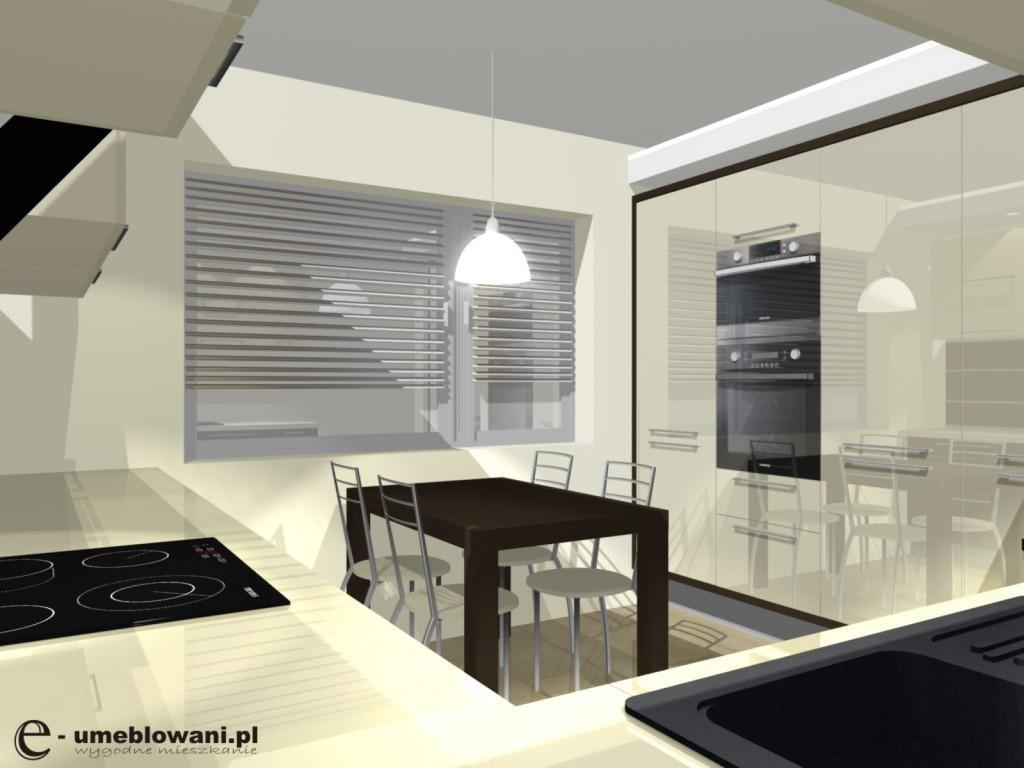 podwieszane słupki w kuchni, stół, kuchnia beżowo-brązowa
