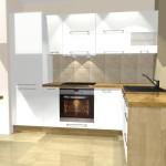 biała mała kuchnia, stół, jedno okno, blat drewaniany