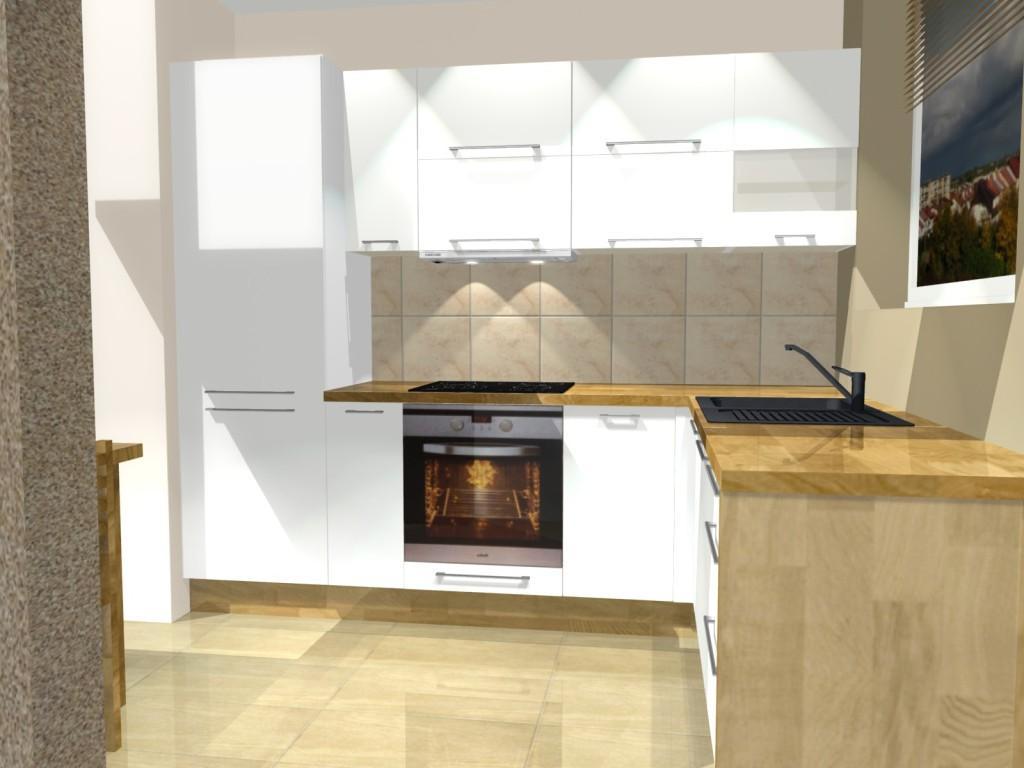mała biała kuchnia z blatem drewnianym, stół, jedno okno