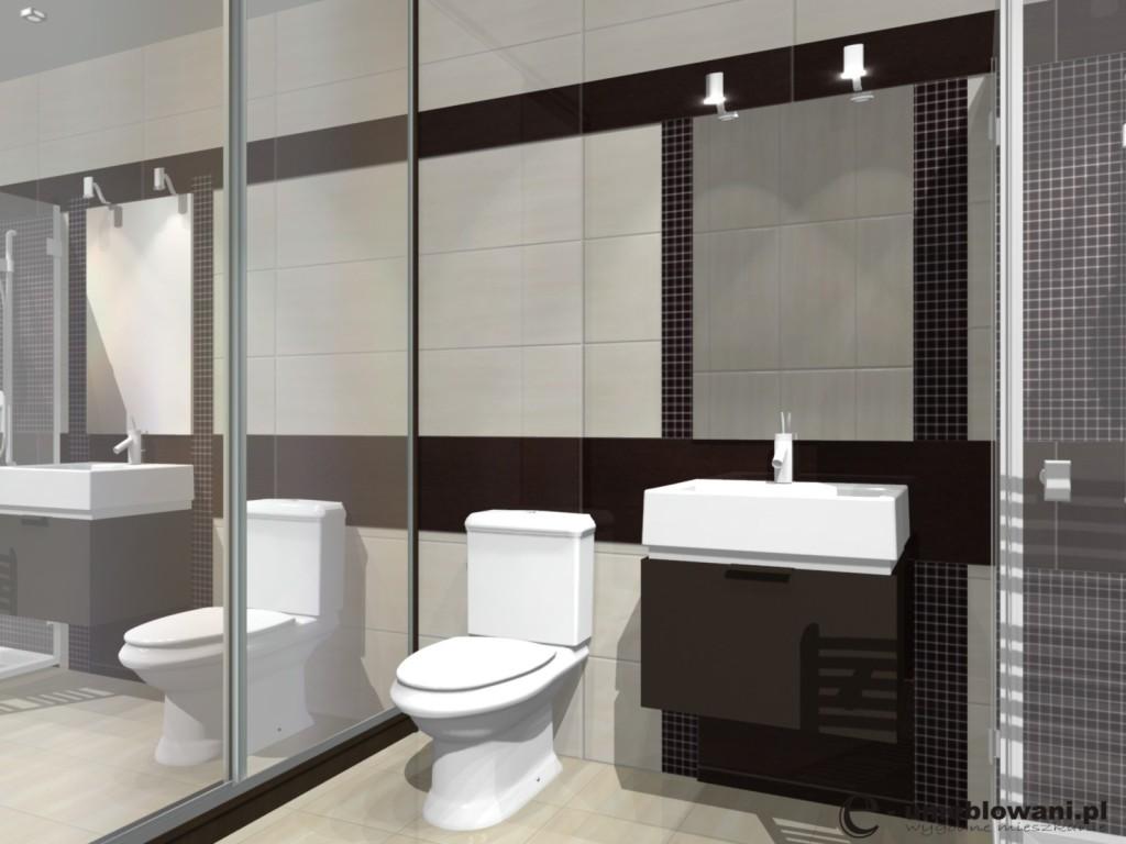 Mała łazienka beż z brązem z prysznicem, szafka z szufladą