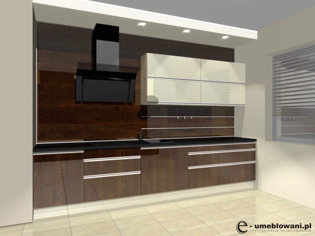 Kuchnia w kolorze merbau, panel z wieszakami na ścianie, uchwyty aluminiowe wpuszczane