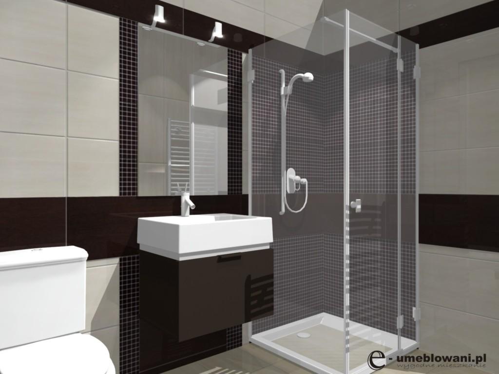 Mała łazienka w bloku z kabiną natryskową, beż z brązem