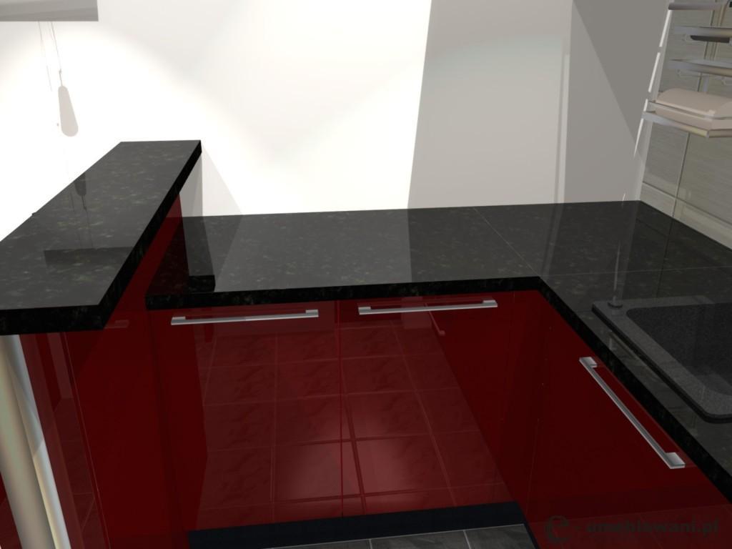 kuchnia, czerwona, szafki kuchenne czerwone, Aranzacja malego aneksu kuchennego w kolorze czerwonym