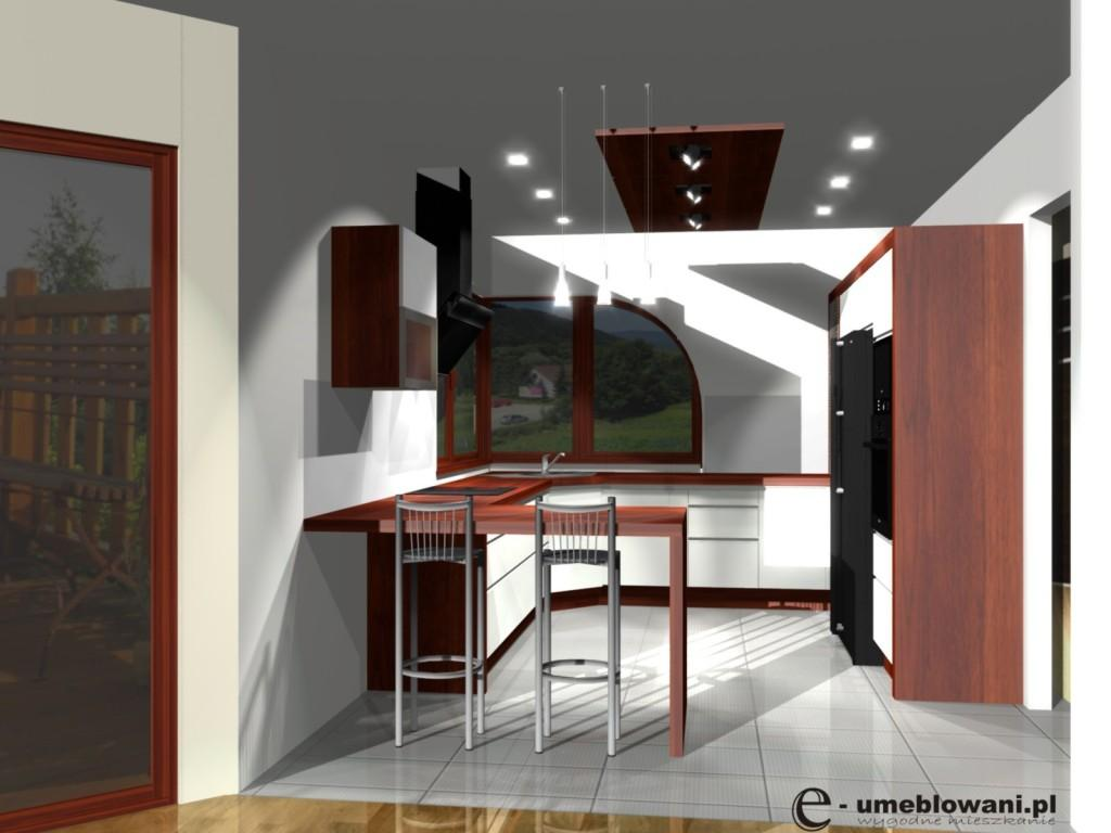 kuchnia, płytki białe, Barek w kuchni bialej, okno narożne