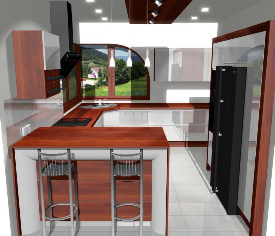 kuchnia, biała, Barek w kuchni malej