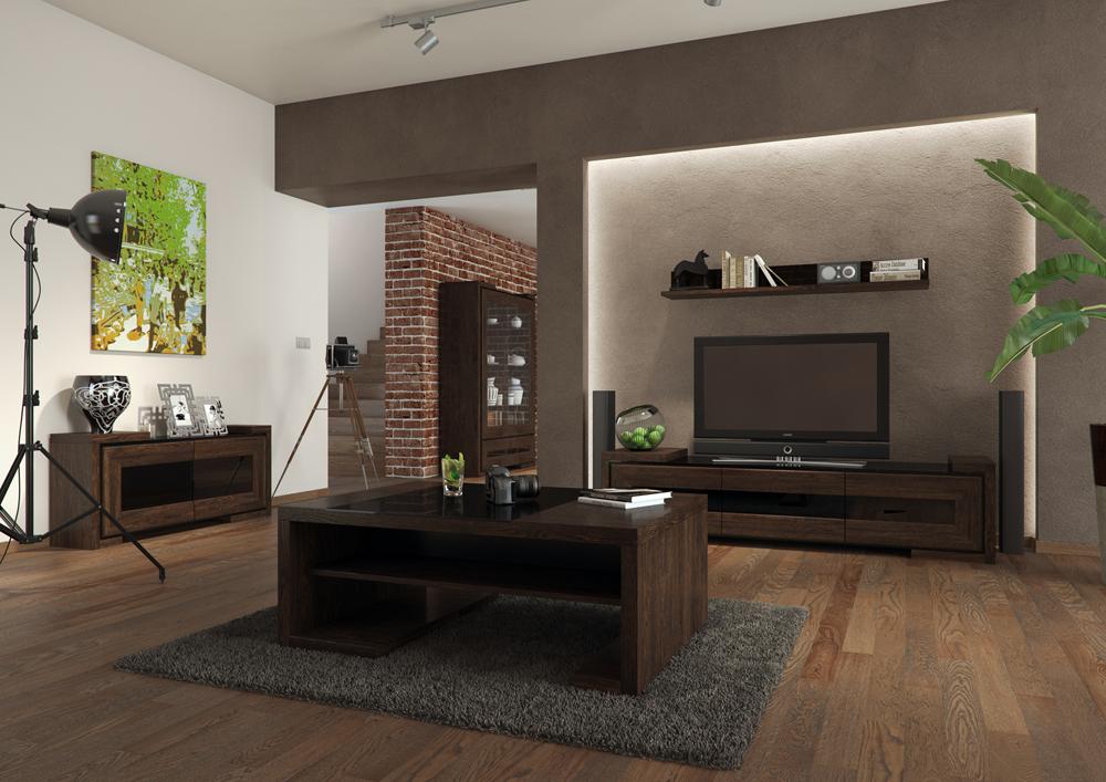 salon, Drewniana podłoga w salonie, dywan, ściana led, stolik kawowy