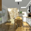 projekt kuchni z salonem i stolem