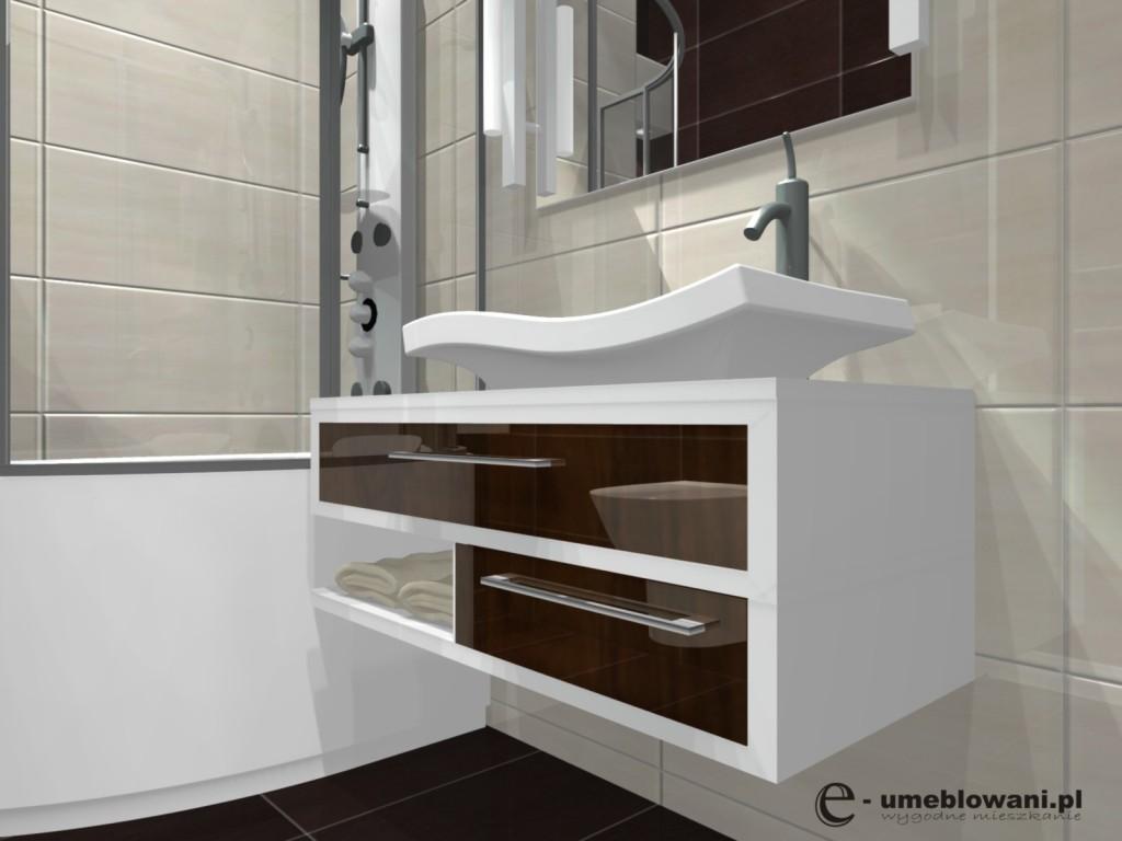 łazienka, projekt malej lazienki z wanną z parawanem, umywalka nablatowa